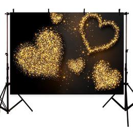 cuori di sfondo della fotografia Sconti Fondali fotografici Dorati cuori lucidi sfondo marrone puntini fondali fotografici photocall decor per un servizio fotografico