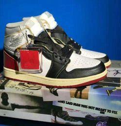 2019 Nouvelle Union x 1 Haute OG NRG 1s Chaussures de basket LA Varsity Rouge-Loup Blanc Noir Gris Designer Mode Leader Hommes formateurs Chaussures de sport ? partir de fabricateur