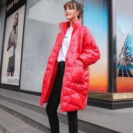 Winter Down Jacket Women New 2019 Frauen Daunen Pakra lang Schlank Eindickung warmen Wintermantel Weibliche Oberbekleidung Schwarz Rot