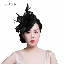be5f6698 QPALCR Lady Women Fascinators Black Pillbox Hat Red Mesh Floral Wedding Hats  Vintage Cocktail Fedoras Feather Hair Clip Hat