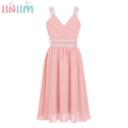 Correa de niños vestido de gasa online-Iiniim Kids Girls Princess Dress Correas de hombro Lentejuelas brillantes Rhinestones Chiffon Dress For Summer Weeding Birthday Party DressMX190822