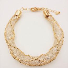 glänzender kristallcharme für armband Rabatt street fashion goldfarbe mesh kette edel luxus glänzenden kristall große kette charme aussage Armband Frauen