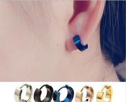 2019 boucles d'oreilles Boucles d'oreilles dormeuses mens cool en acier inoxydable oreille goujons Hoop boucles d'oreilles noir bleu Silver Gold Channel Earrings J154 boucles d'oreilles pas cher