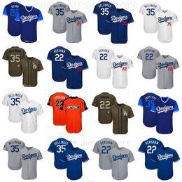 9a788f4f578 2019 jersey verde da baseball verde Uomo Donna Dodgers Jersey 22 Clayton  Kershaw Kids 35 Cody