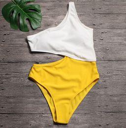 monokini swimsuit branco Desconto Sexy Branco Amarelo Cintura Alta Cortar Trikini Com Nervuras Maiô Monokini Assimétrico Ombro Swimwear Mulheres Um Pedaço Swimsuit