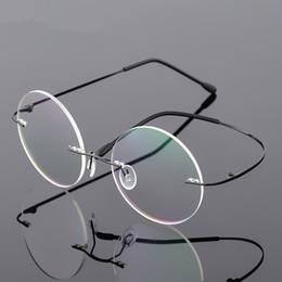 Argentina Alta calidad Steve Jobs Style Alloy Rimless Gafas graduadas ópticas marco redondo claro lentes Gafas envío gratis Suministro