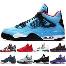 huge discount 5247a f92b2 4 CACTUS JACK Travis Scotts x 4s Denim LS Jeans Houston Oiler Weißer Zement  Raptor KAWS IV Herren Basketballschuhe Pure GELD Royalty Sneakers