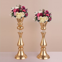 tall candle holder centerpieces Promo Codes - Gold Flower Rack 45 50 CM Tall Candle Holder Wedding Table Centerpieces Vase Decoration Event Party Road Lead