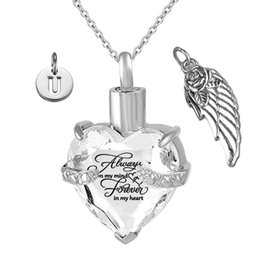 fascini di cremazione Sconti Per sempre nel mio cuore Angel Wing e Birthstone April Crystal Charm Cremation Keepsake Memorial Urn Necklace