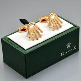 abotoaduras de natal Desconto preço de atacado R --- X finas camisa dos homens Abotoaduras com caixa marca de jóias ligações Copper Cuff para presente de Natal