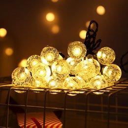 fil étoile rouge Promotion Led solaire de lumières Fée boule lumière de guirlande extérieure de soirée de mariage de Noël Jardin Waterproof Décor de vacances