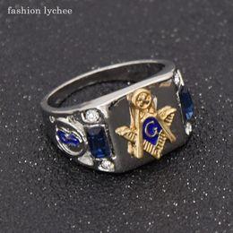 2019 anelli massonici moda lychee massone blu cristallo uomini anello punk stile moda massonica biker dito anelli gioielli regalo anelli massonici economici