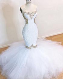 Elegantes langes schwarzes weißes spitzekleid online-2020 neue weiß Lange Nixe-Abschlussball-Kleid-reizvolle elegante Schatzsequin-Spitze-wulstige Abendkleider Crystals African Black Girl 's Abendkleid