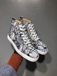 2019 hombres zapatos de pitón Graffiti Pitón de cuero Zapatillas altas Zapatillas Mujer, Parte inferior de los hombres Parte casual Ocio Ocio Pisos Vestido famoso Caminar con caja EU35-46 hombres zapatos de pitón baratos