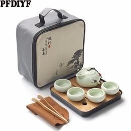 Viagem chinesa Kung Fu Conjunto de Chá Cerâmica Portátil Bule de Porcelana Teaset Gaiwan Xícaras de Chá de Cerimônia Do Pote De Chá Com Saco de Viagem de Fornecedores de presente da bacia de peixes