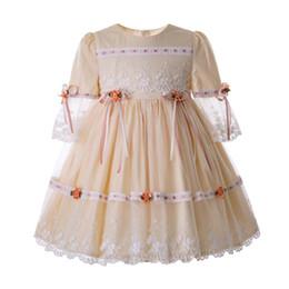 Vestidos de noche para niños online-Pettigirl Champagne Lace Girl Communion Vestidos de princesa con malla de malla Vestidos de noche Niños Ropa de diseño Chicas G-DMGD112-C124