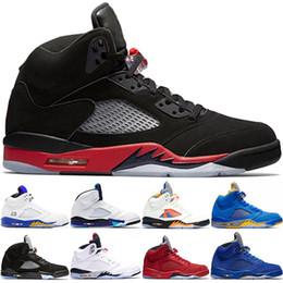 6a68b0d3a6b4a Nike Air Jordan 5 Retro 5 5s Hommes Chaussures de basket-ball Bleu Suede  Race Frais Prince Laney Blanc Hommes Formateur Sport Sneakers Designer Pas  Cher ...