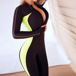 2020 costumes de sport féminin Femmes Sport Costume Yoga Femme Fitness Gym Set Running Wear Vêtements Survêtement Sexy Ensemble sport Zipper combis costumes de sport féminin pas cher