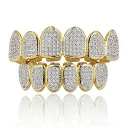 Churrasqueiras reais on-line-Banhado a Ouro Real de 18k Tudo Congelado de Luxo Cubic Zirconia Dourado Conjunto Grillz com Barras de Moldagem Extra Incluídas
