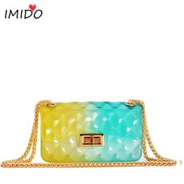 ladies creams Coupons - Clear Colorful Transparent jelly Bag Gradient Candy Color Crossbody Bags Designed Ladies Shoulder Chain Messenger Bag