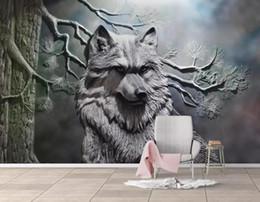 2019 arte de parede 3d amarela [Auto-adesivo] 3D Wolf 174046 mural de papel de parede mural de impressão de parede decalque