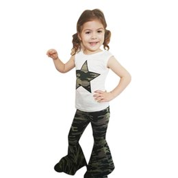 Модные майки для малышей онлайн-Fashsiualy Kids Baby Girls Fashion Clothes Sets Toddler Infant Baby Girl Star Tee Tops+Camouflage Flared Pants Outfits Set