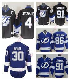 Stamkos jersey дешевый онлайн-Мужские дешевые футболки Tampa Bay Lightning 91 Джерси Steven Stamkos 4 Винсент Лекавалье 86 Никита Кучеров Сшитый высококачественный хоккейный трикотаж