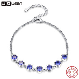 sterling silver tanzanite bracelet Promo Codes - JQUEEN Women Bracelet 100% 925 Sterling Silver Bracelet Blue Tanzanite Shinny Color Fine for Women for party 7.99inch