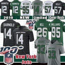 L campana online-Mens 26 Le'Veon Bell New York 33 Jamal Adams Jets 14 Sam Darnold del calcio Jersey 95 Quinnen Williams 57 C.J. Mosley 12 Joe Namath colore di punta
