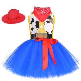 Cosplay disfraces de vaca online-Cow Girl Woody Role Play Disfraz con sombrero Cow Girls Birthday Halloween Party Cosplay Tutu Dress and Scarf For Carnival HolidaysMX190912