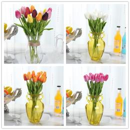 Tulpen sträuße online-PU-Tulpe künstliche Blume Tulpe gefälschte Blumen einzelne Mini-Tulpe Blumenstrauß für Hochzeit Tischdekoration Partei Wohnkultur dekorative Blumen