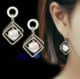 8959380f6b79 High grade Simple personality Temperament Earrings Geometric Square Pearl  Stud Earrings For Women couple Fashion Jewelry gift