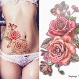 falsificação tatuagens rosa Desconto Maquiagem Falso Tatuagens Temporárias Adesivos Rose Flores Braço Ombro Tatuagem À Prova D 'Água Mulheres Big Flash Beleza Tatuagem No Corpo