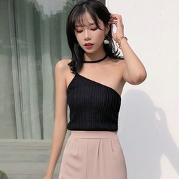 bd0d8055147 Women Sexy Sleeveless Halter Pullover Tank Top Off-The-Shoulder Knitted  Solid Color Crop Tank Top camisole 2019 Fashion Korean korean crop tops on  sale