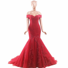 элегантное вино Скидка Красное вино Женщины Элегантный с плеча Slim Fit Bling блестками Русалка вечерние платья