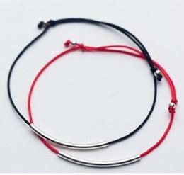 dünne armbänder Rabatt Geben Sie silberne Schmucksache-Schwarz-rote Schnur-Lächeln-Stab-dünnes Rohr des Schiffs 50pcs / lot glückliche Armband-justierbare Armbänder HEISS ab