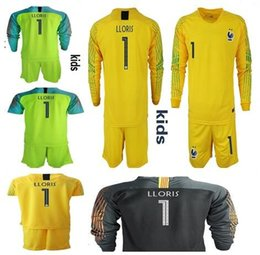 2018 World Cup France 2 STAR KIDS goalkeeper jerseys  1 LLORIS Long Sleeve  Goalie T Shirt Kits KID uniforms Children goalkeeper jerseys france world  cup on ... 49b9870bb