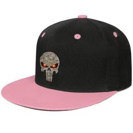 Camo punisher skull Cappello da tesa piatto da baseball da uomo e da donna di colore rosa con design personalizzato e personalizzato da