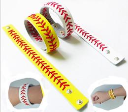 Dentelle chevron en Ligne-Softball Baseball Bracelet Sport Bracelet en Cuir Sport Cousu Dentelle Bracelet en Cuir Athlétisme Classique Chevron Softball Bracelet