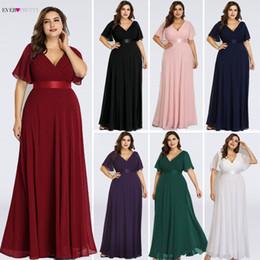 Vestidos siempre lindos online-Más el tamaño de vestidos de noche formales siempre bastante elegante borgoña volantes glamorosos acolchados vestidos de noche de gasa con mangas cortas Y190525