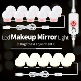 adaptadores para lâmpadas led Desconto 12V Makeup Tabela Espelho de Luz EU US Adaptador Hollywood Vanity Lamp Led Vestir Tabela 10 lâmpadas Kit USB 220V Dimmable Make Up Bulb
