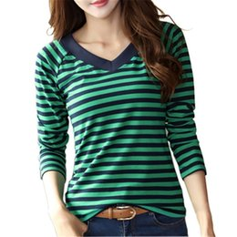 Полосатые рубашки корейская мода онлайн-T-Shirt Women Fashion Striped Long Sleeve V-neck T Shirts 2018 Autumn Casual Female T Shirt Korean Women's Cotton Tshirt