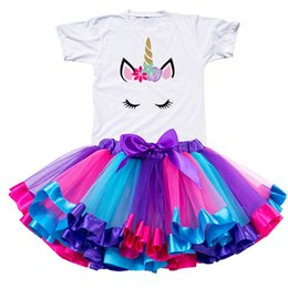 2019 Girl Unicorn Tutu Dress Rainbow Princess Girls Party Toddler Baby 1 To 8 Years Birthday Outfits Children Kids Clothes Discount