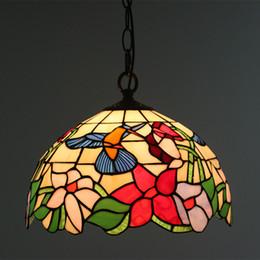 Lampada da cucina a forma di fiore da 12 pollici in vetro macchiato. Lampada a sospensione da cucina supplier bird hanging light da luce d'appendere dell'uccello fornitori