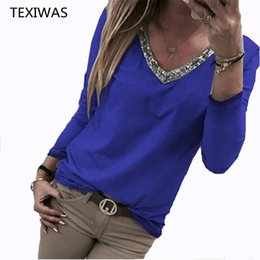 a0ae7a1e1e4136 TEXIWAS Sexy V neck Sequin Blouse Women Tops 2019 jumper Pullovers women  Shirt Elegant Office Lady Blouse Tops Plus Size S-5XL discount plus size  sequin ...
