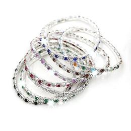 Bracelets colorés en strass en Ligne-Chaud! EN STOCK 20 pcs / 1 lot coloré Bracelet en strass de rangée de printemps Tennis 8 - Couleur (z305)