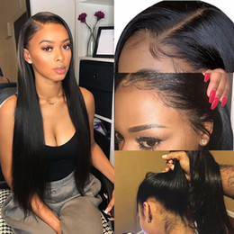 2019 peluca india 150% Densidad del frente del cordón de la peluca peluca de pelo recto de encaje transparente trenzas Raw India Cola de caballo de cabello humano peluca larga peluca india baratos