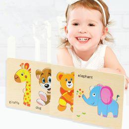 Animal wooden puzzle on-line-Brinquedos do bebê De Madeira Enigma Bonito Dos Desenhos Animados Inteligência Animal Crianças Educacional Cérebro Teaser Crianças Tangram Shapes Jigsaw Presentes MMA2048