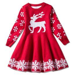 3282f7ad0 Color rojo bebé niñas chritmas faldas ciervos tejer niños niña días de fiesta  vestido cálido niños fiesta faldas vestidos de fiesta rojo para las niñas  ...