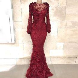 Burgundy Mermaid celebridade Prom Vestidos de penas marroquinos kaftan formais de manga longa vestidos de noite elegante Prom vestes partido de soirée de
